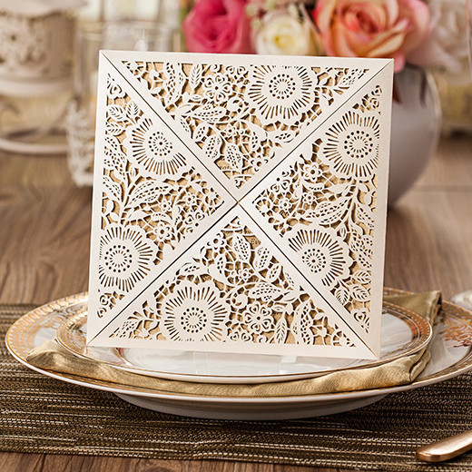 pearl white floral laser cut wedding invitation