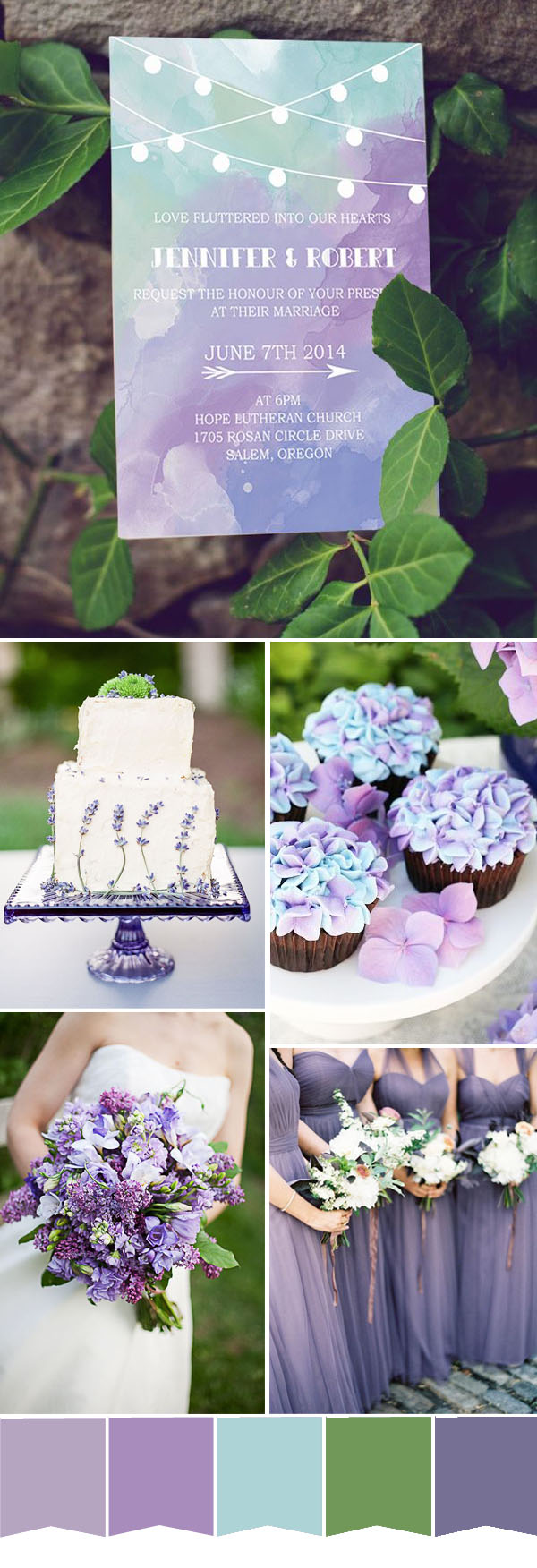 purple and mint spring weddding color ideas and wedding invitations