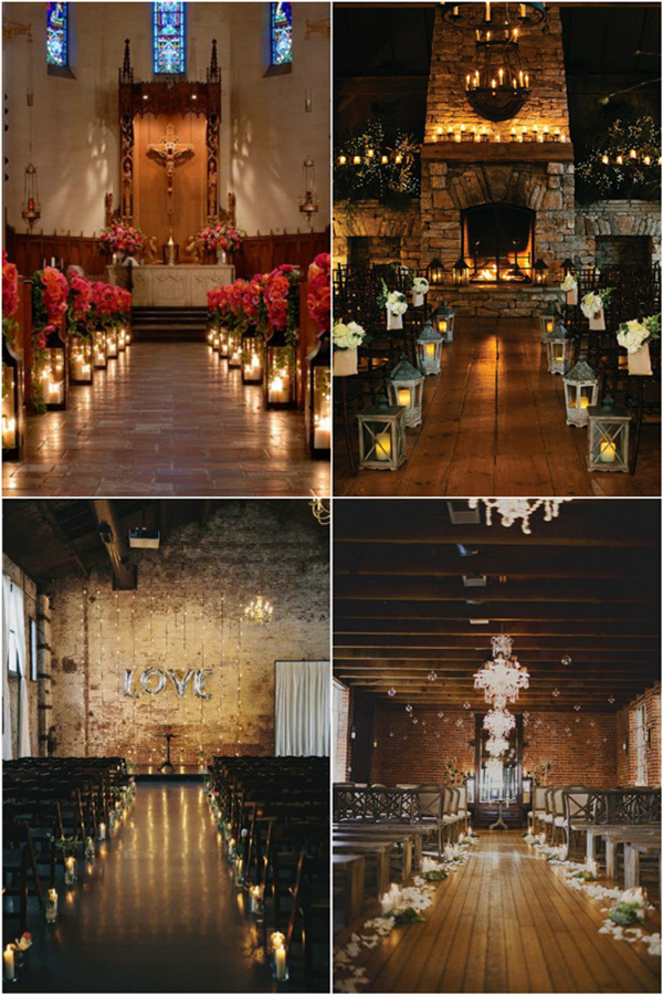 romantic indoor wedding ceremony with candles