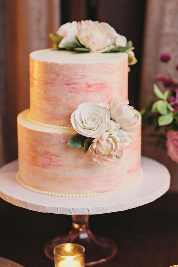 romantic two tiered pink painted wedding cake
