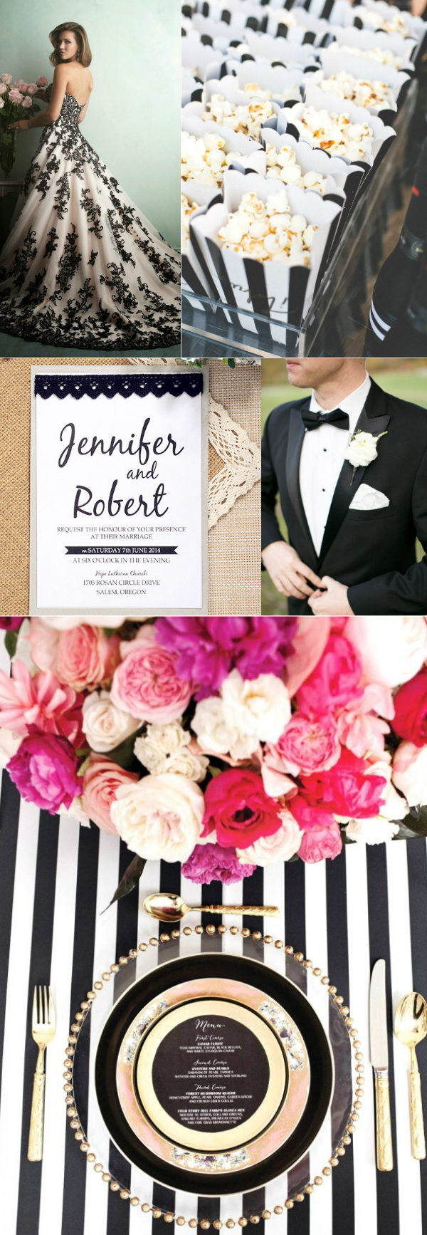 romanticaly classic black and white wedding inspiration