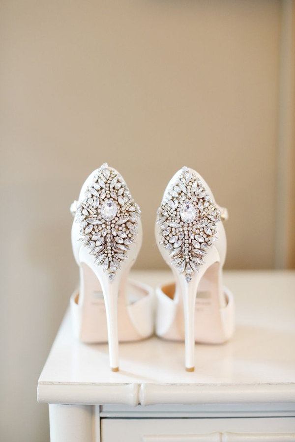 shabby chic wedding shoes with sparking deatils