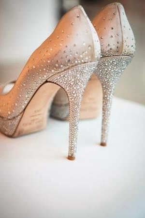 sparkle champagne wedding shoes for bridal