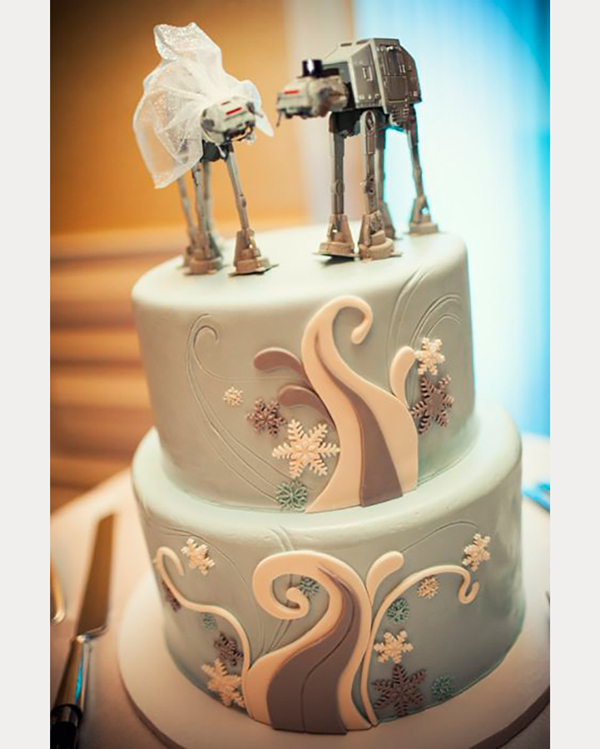 star wars inspired wedding cake with at-at toppers