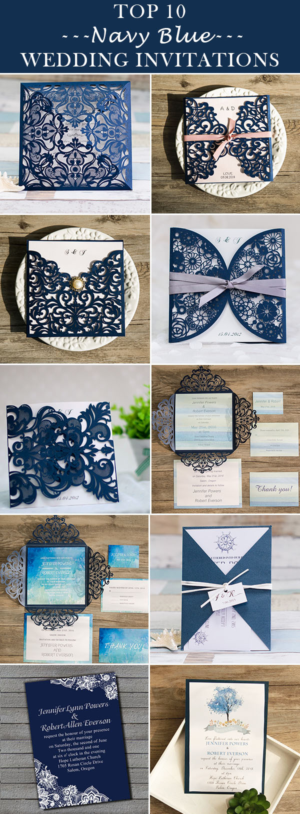 top 10 navy blue wedding invitations for 2016 trends