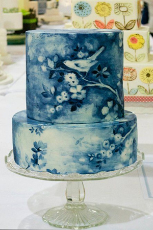 unique but pretty blue painted wedding cakes