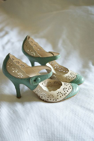 vintage mint and white wedding shoes