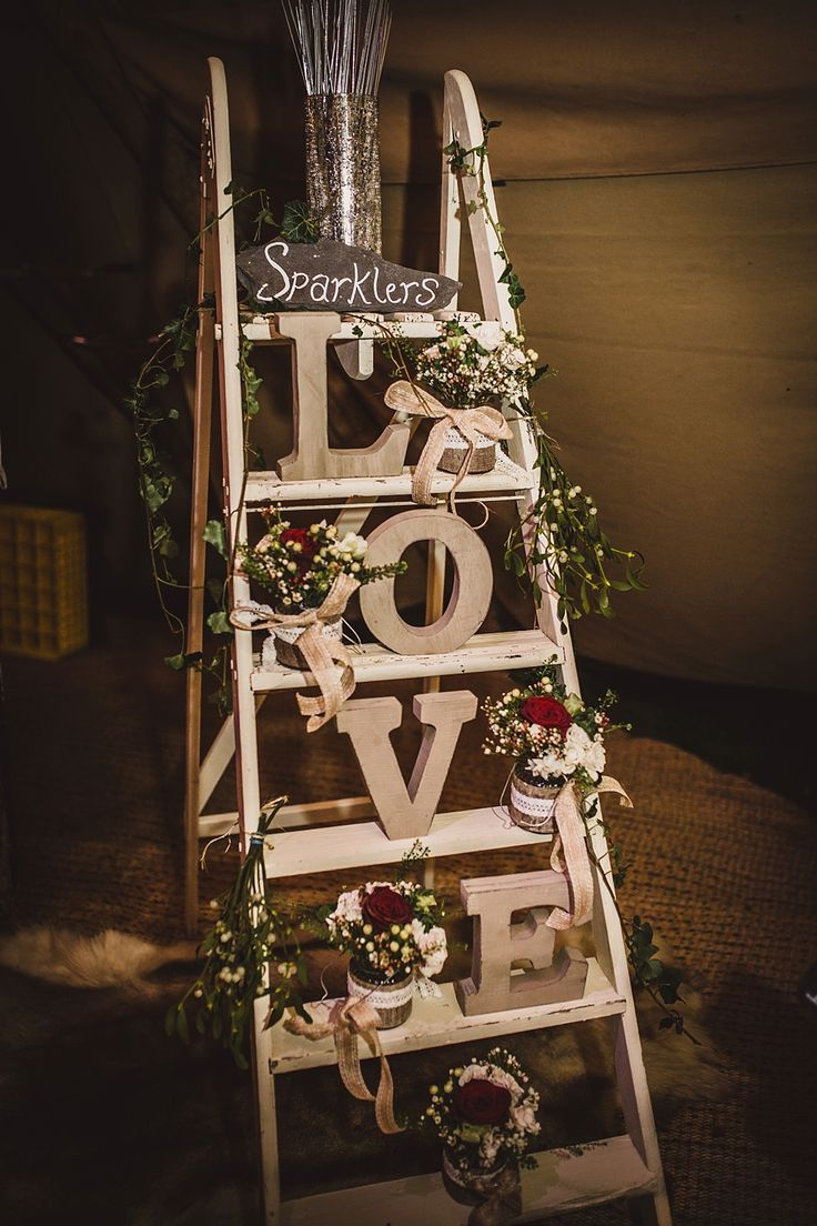 vintage step ladder display ideas with wooden LOVE letters , mason jars and flowers