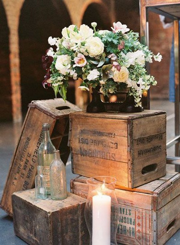 28 of the most inspirational vintage wedding ideas vintage wooden crates wedding decor ideas junglespirit Choice Image