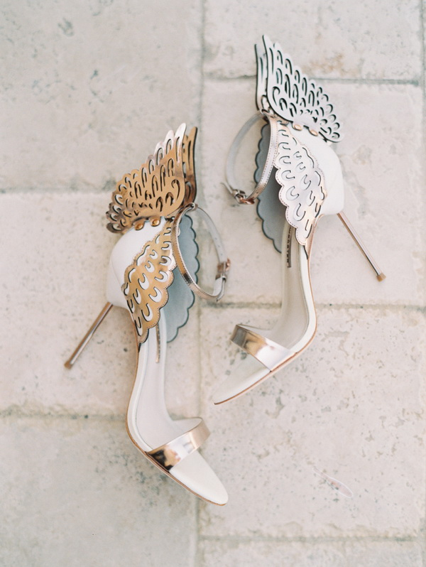 white leather scandal bridal shoes with angel wings