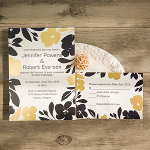 black and gold foil stamped flower wedding cards