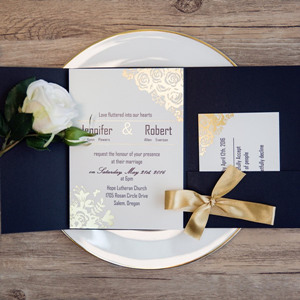 black and metallic gold pocket wedding invitations
