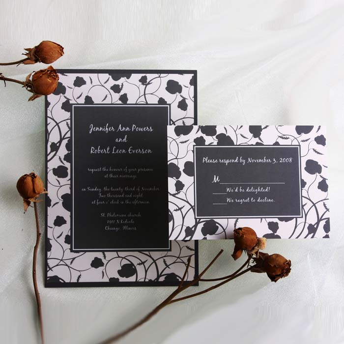 black and white vintage damask online wedding invitation EWI054