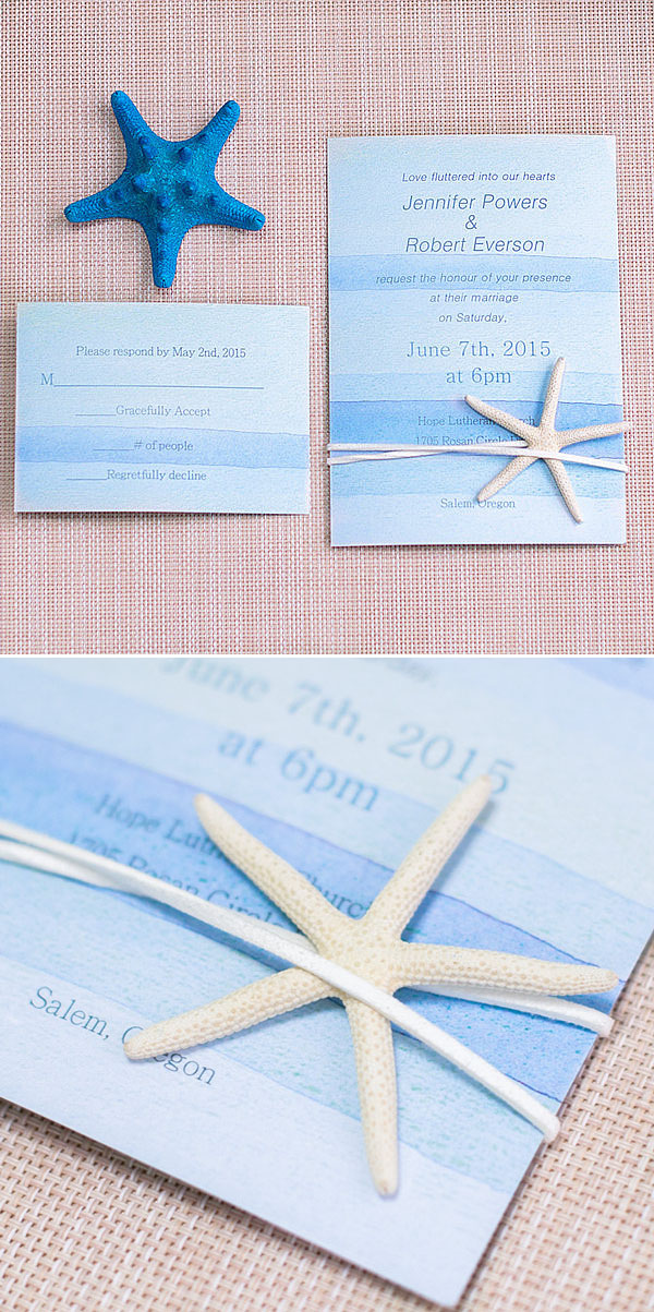 cheap watercolor blue beach wedding invitations with starfish EWLS053