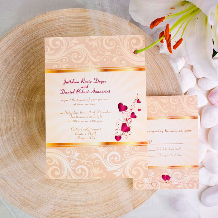elegant gold damask with red hearts fall wedding invitation EWI053