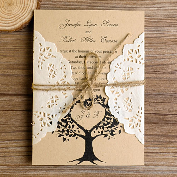 love tree rustic made in south_korea lace pocket wedding invites