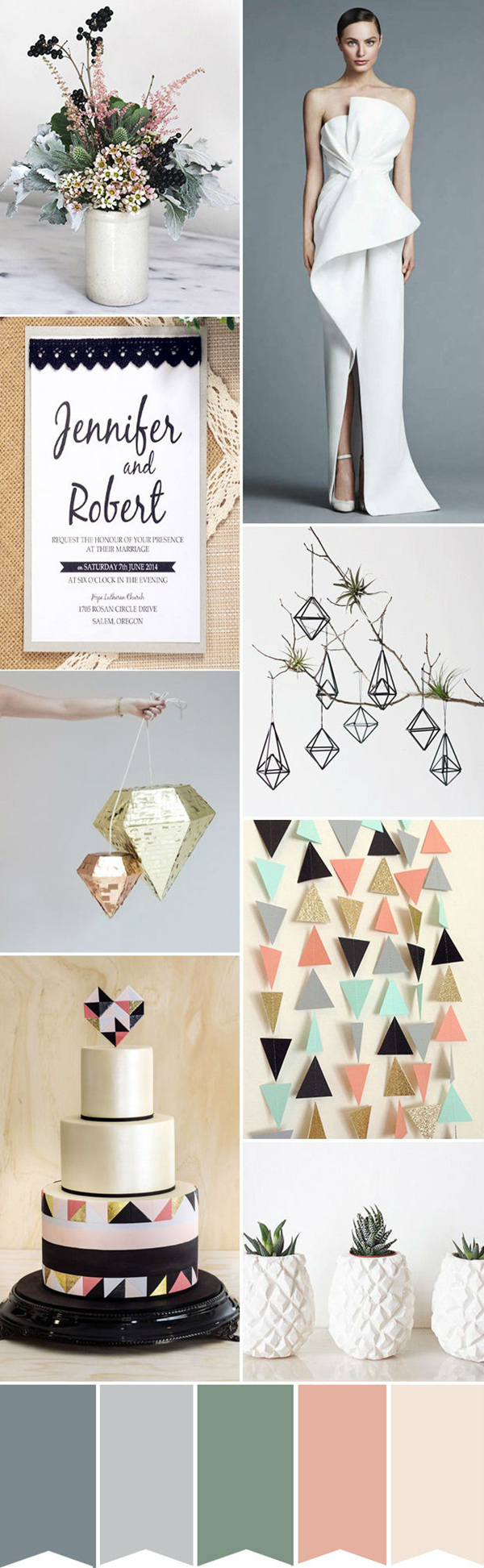 modern geometric wedding ideas with  color palettes