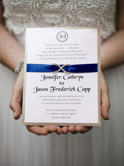 modern sapphire blue satin ribbon rhinestone layered wedding invitations EWLI002