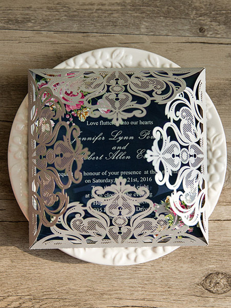navy blue floral silver laser cut invitations EWWS090