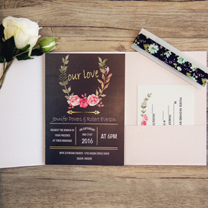 pink and black pocket wedding invitation with gold words