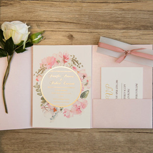 pink and gold foil chic floral pocket wedding invitations