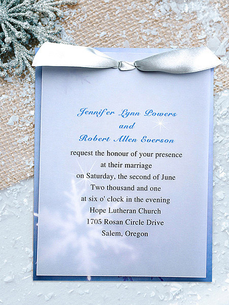 romantic blue snowflake winter layered wedding invitations EWLI020