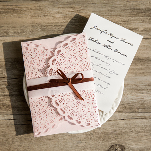 romantic blush pink laser cut wedding invitations with vullum band and brown ribbon EWWS100-3