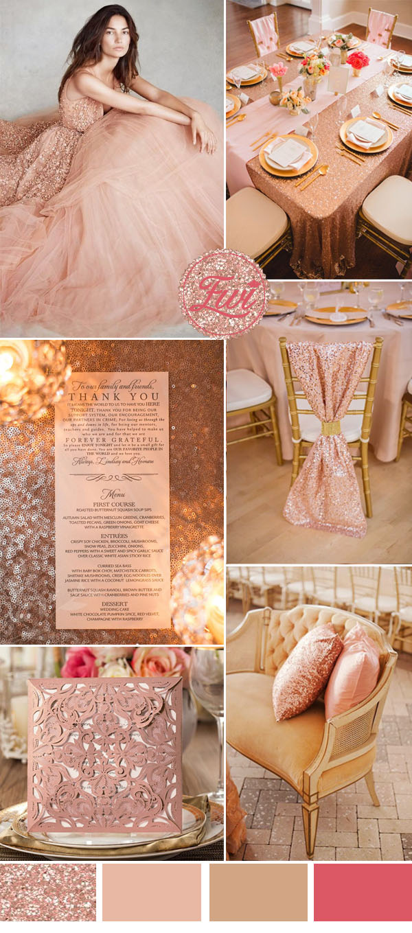 rose gold and blush pink wedding ideas and laser cut wedding invitations
