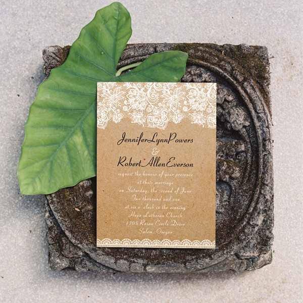 rustic floral lace wedding invitations