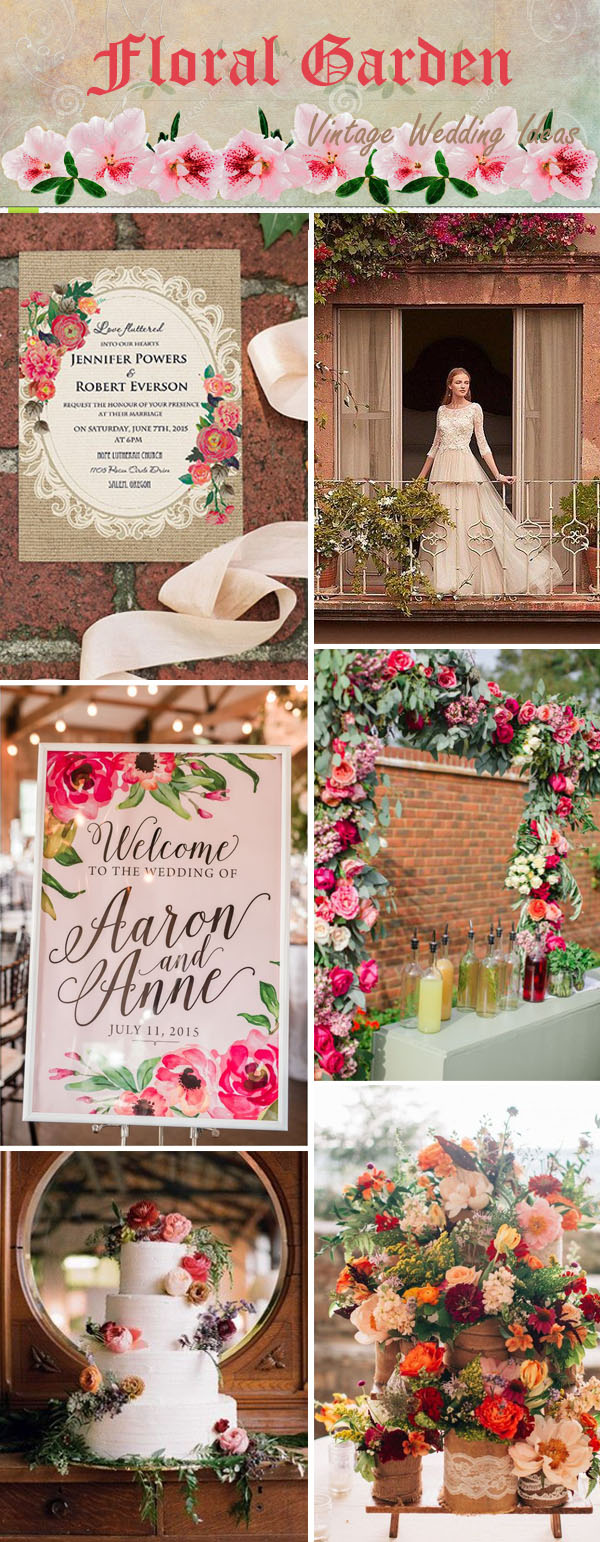 Rustic Vintage Fl Garden Wedding Ideas And Invitations