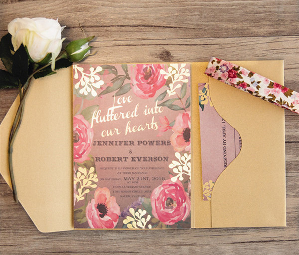shabby chic gold foil stamped floral pocket wedding invitations