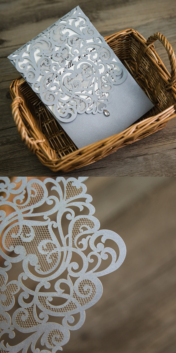 silver laser cut rhinestone wedding invites