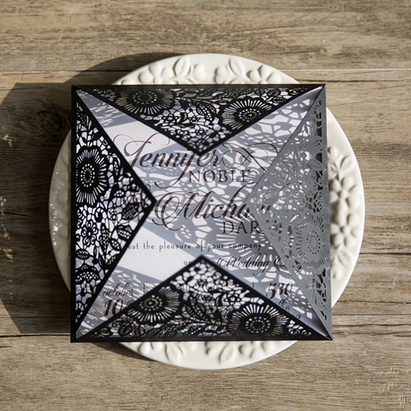 simple black and white laser cut wedding invitations EWWS102