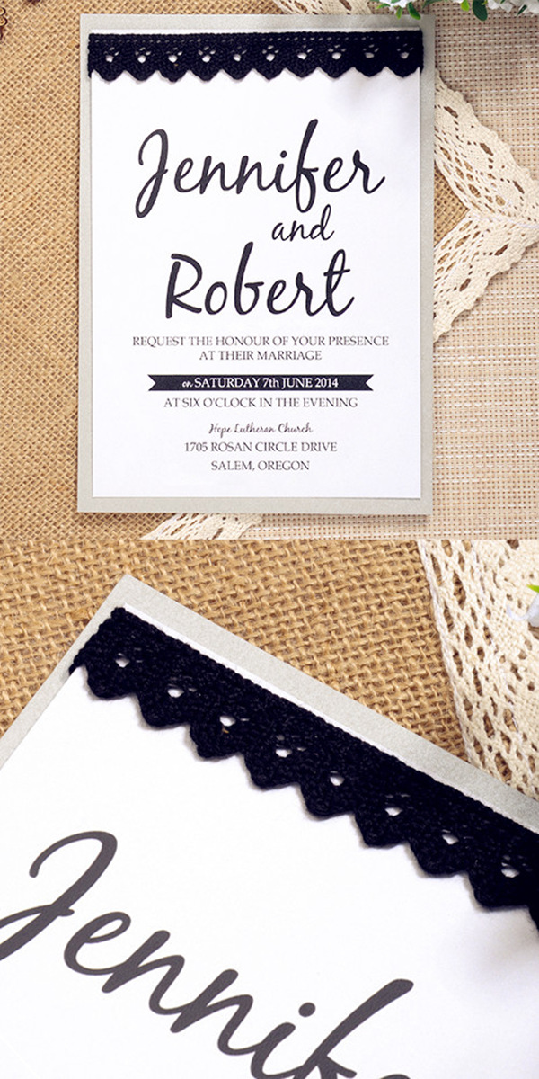 simple modern black lace layered wedding invitations