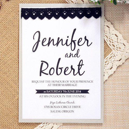 simple modern black lace layered wedding invite EWLS038