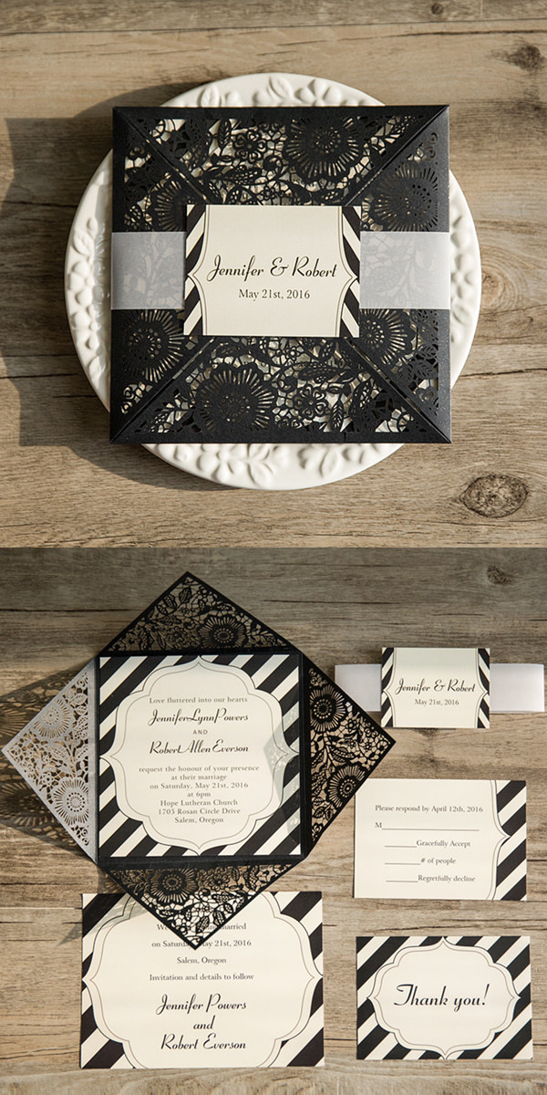 simple modern black lace layered wedding invite