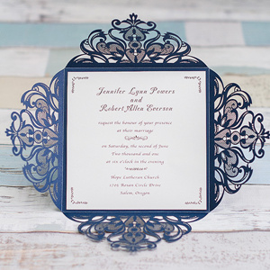 2016 trending navy blue laser cut elegant wedding invitations