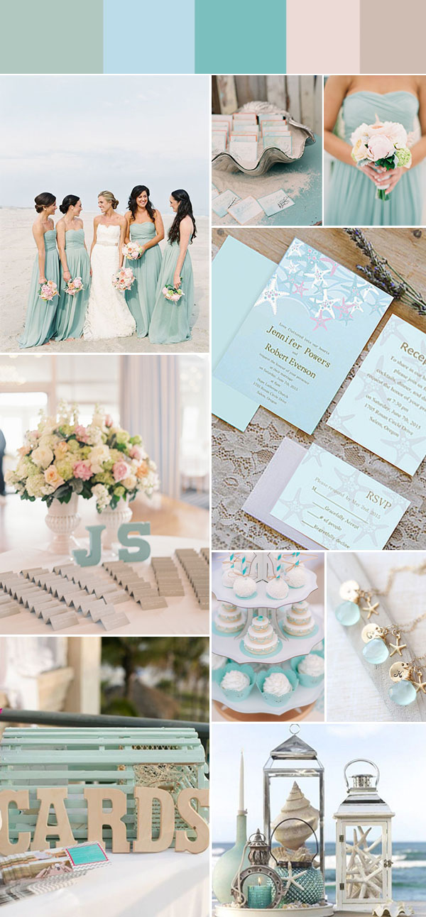 aqua blue beach wedding inspiration and invitations