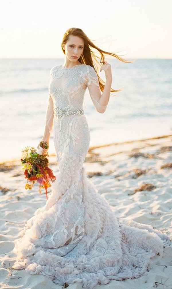 beach ruffles mermaid wedding dress