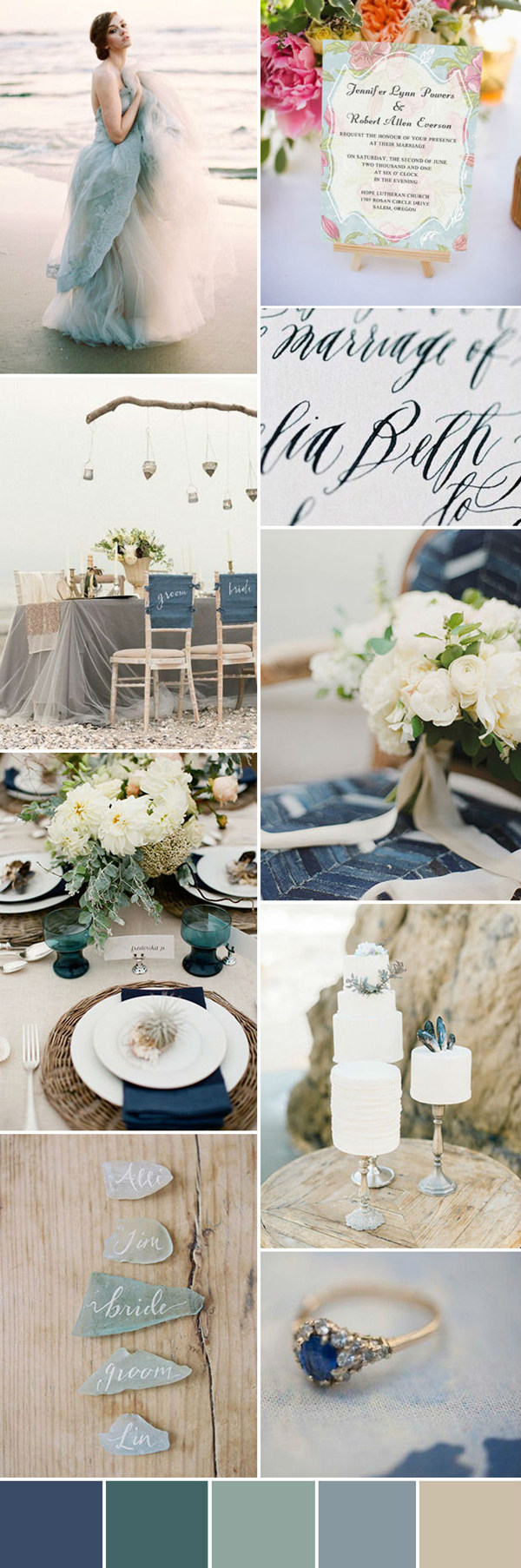 beach wedding ideas with sea inspired wedding color
