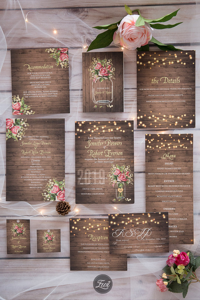 beautiful flower rustic wedding invitation suite