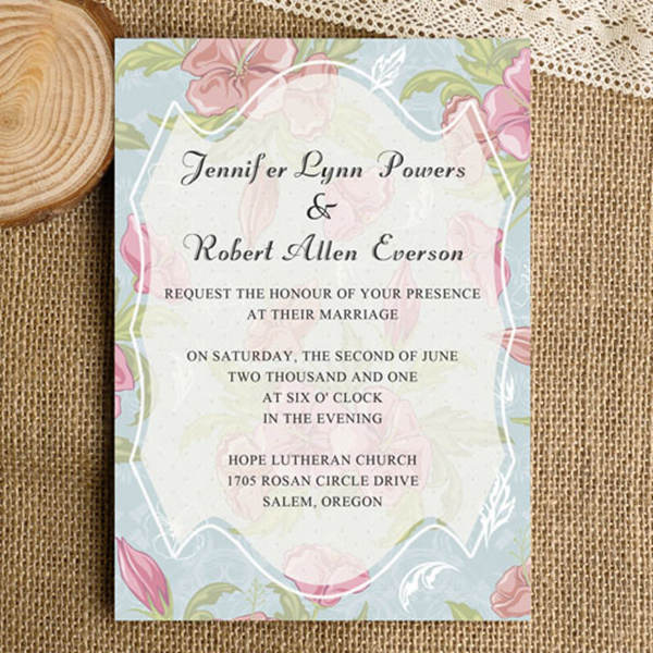 blue and pink floral rustic wedding invitation