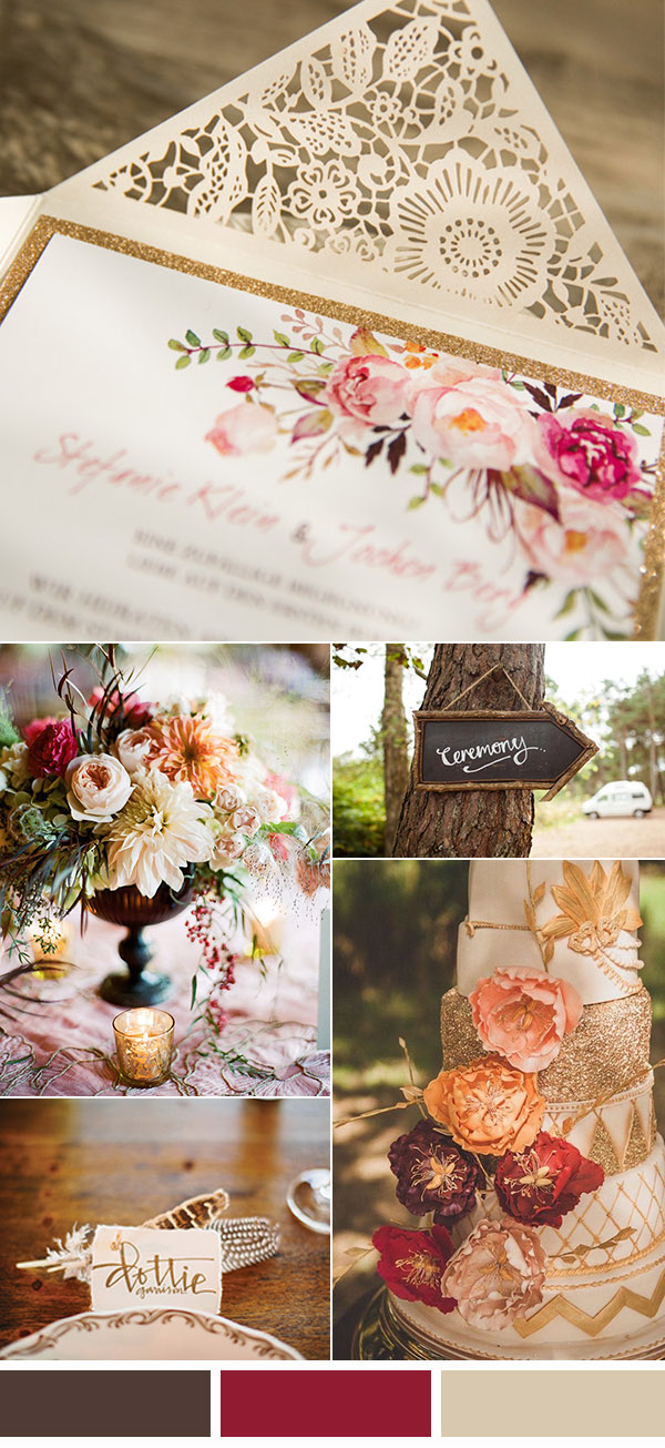 burgundy red and brown rustic chic fall wedding color ideas