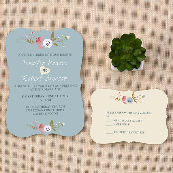chic dusty blue and pink country wedding invitation with bracket shape