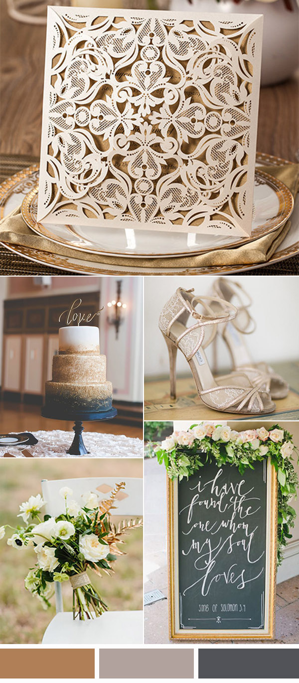 chic elegant neutral wedding colors with a touch of glitter
