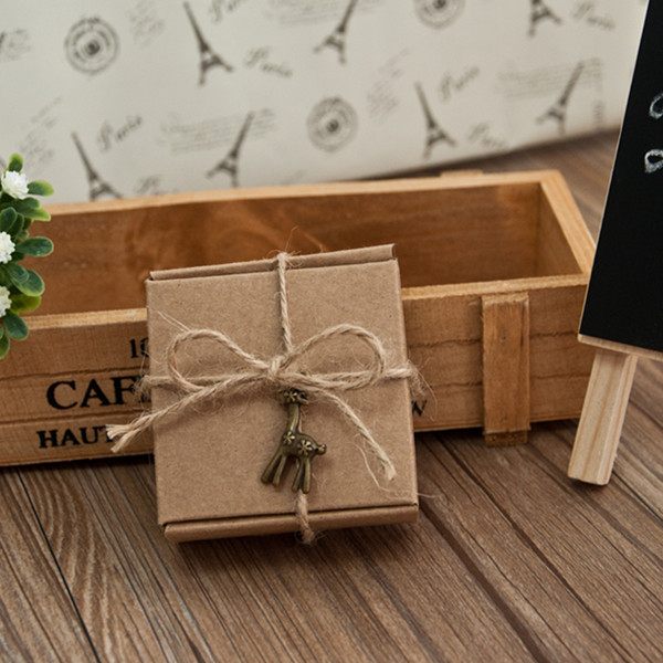 country wedding favor box with twine and vintage deer pandent EWFB094