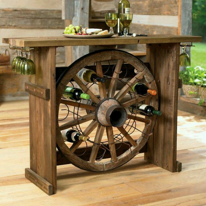creative DIY wood and wheel wine bar wedding ideas