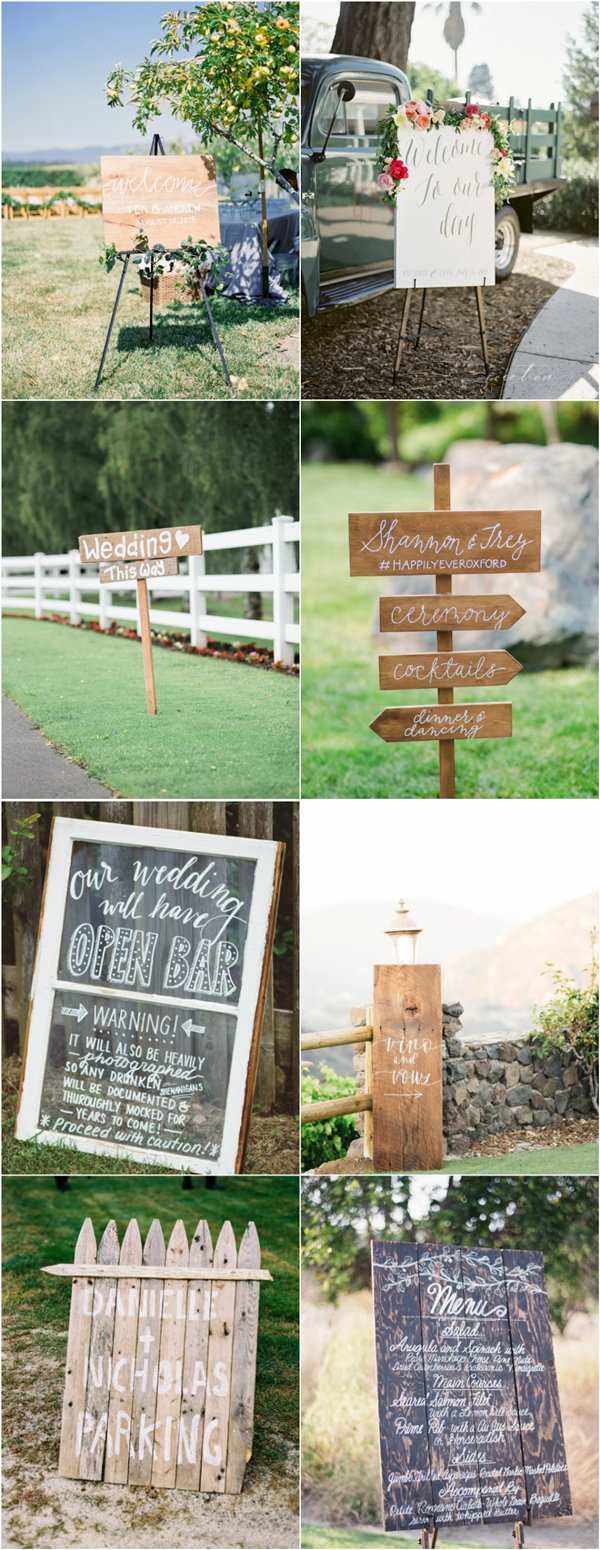 creative wedding signs for rustic weddings