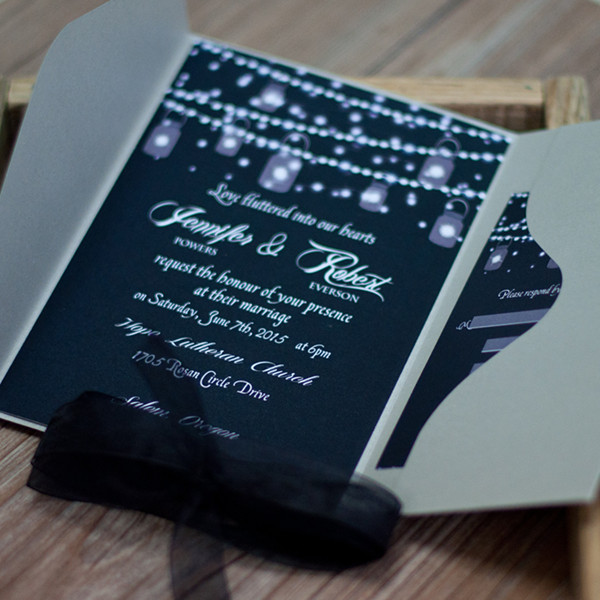 dark blue stright lights masonjar pocket wedding invitations EWPI189