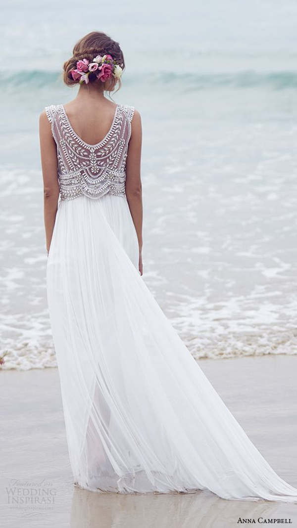 elegant beach wedding dress from anna campbell